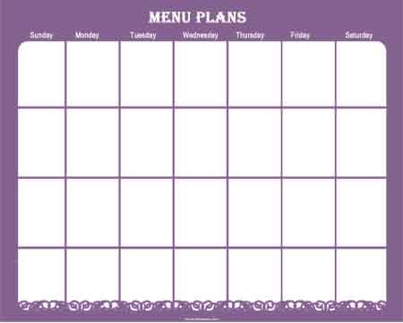 menu planner sample 9941