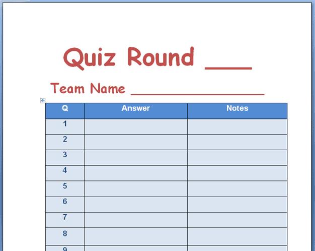 quiz template 2641