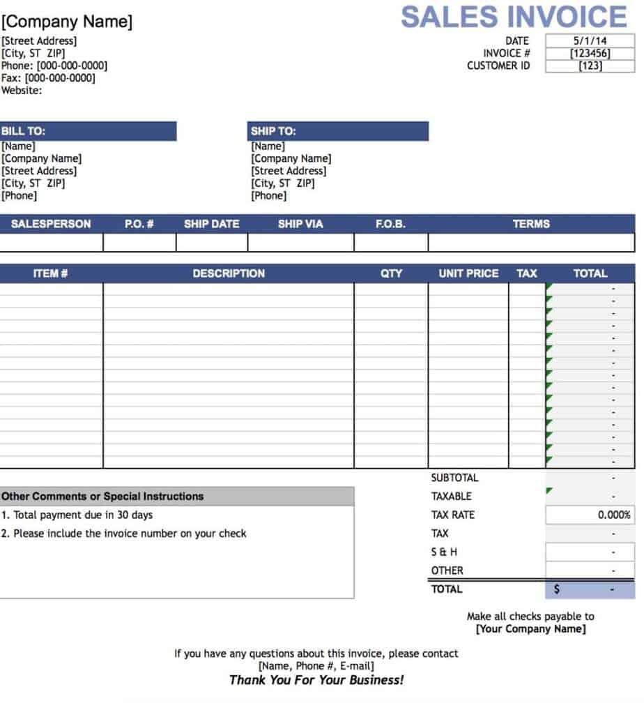sales invoice sample 3461