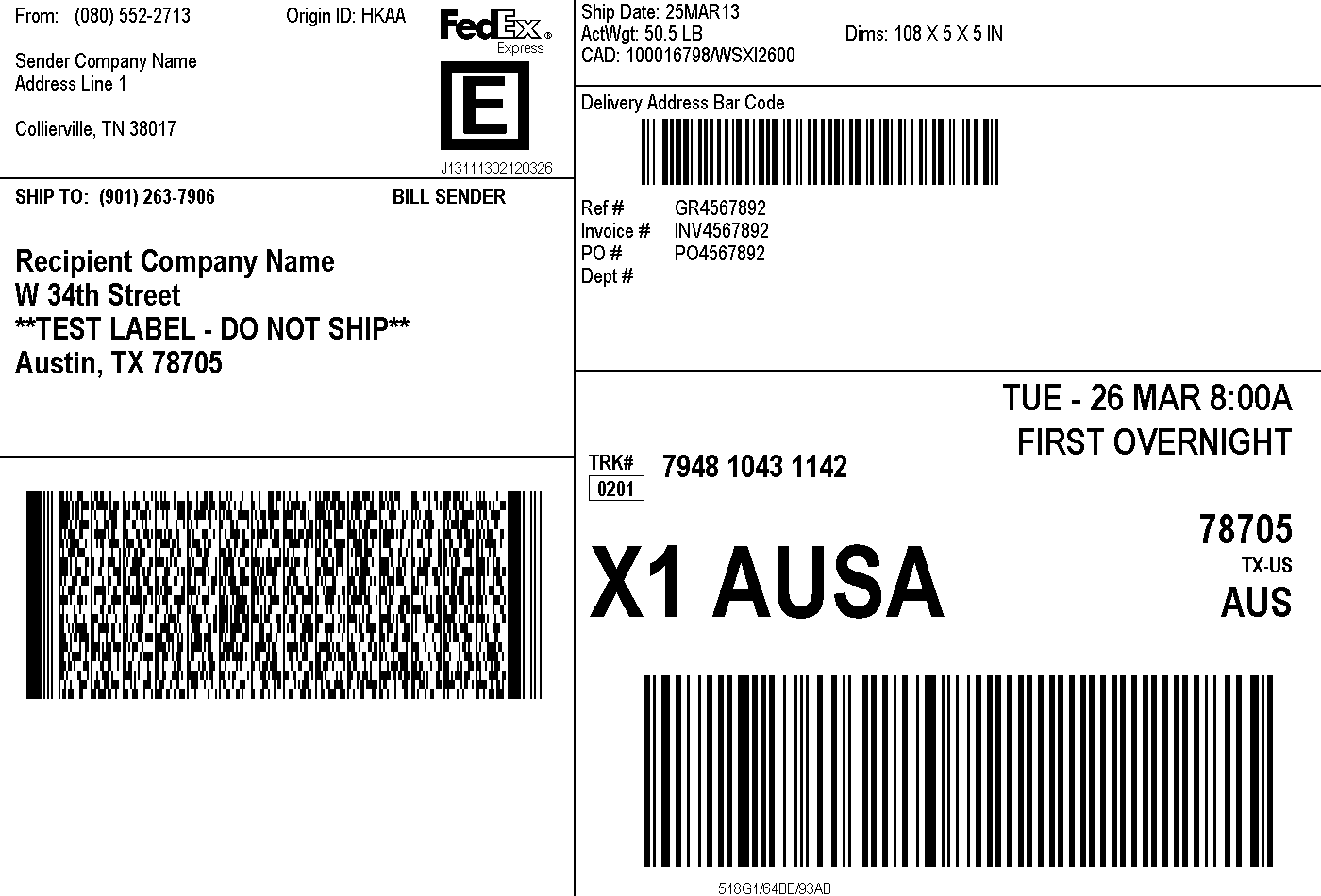shipping label sample 641