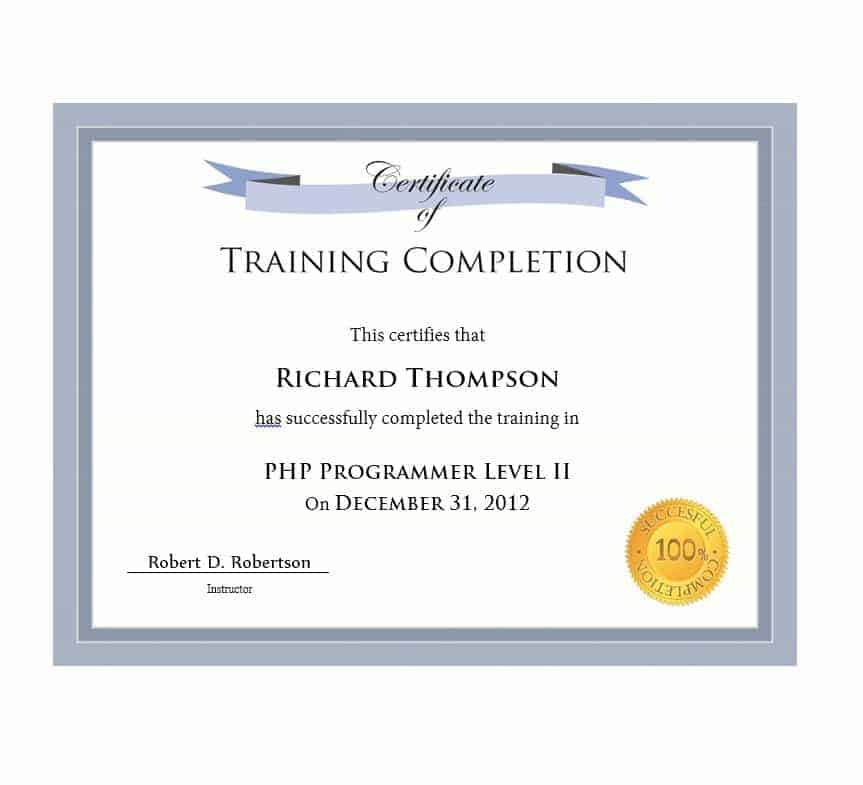 21+ Free 42+ Free Certificate Of Completion Templates