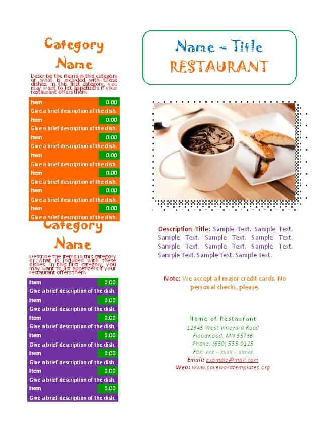 21+ Free Restaurant Menu Templates - Word Excel Formats