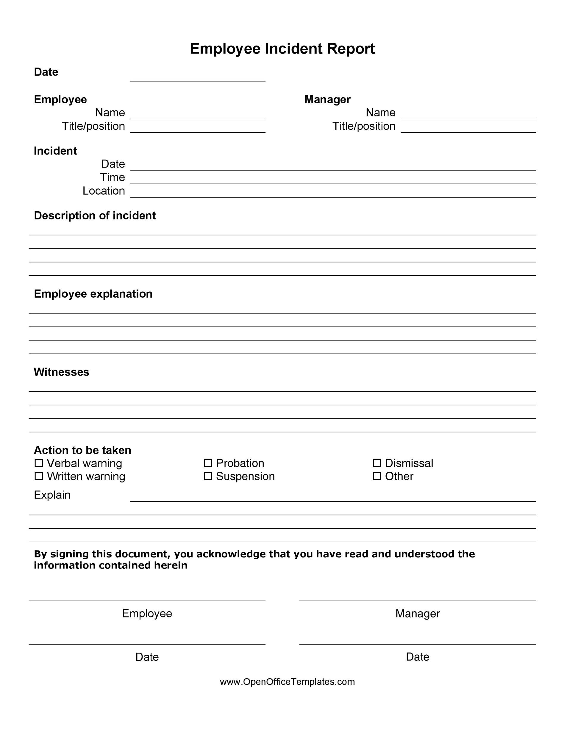 23+ Free 23+ Free Incident Report Templates - Word Excel Formats With Incident Report Log Template